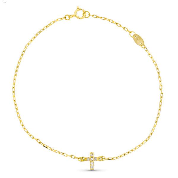 Pulsera de oro con detalle cruz y diamantes