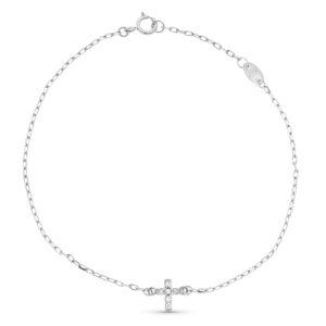 Pulsera de oro blanco con detalle cruz y diamantes