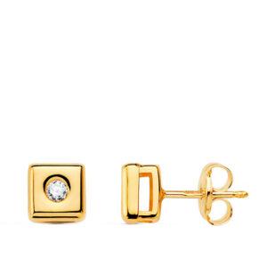 pendiente cuadrado oro y diamante 5,5mm