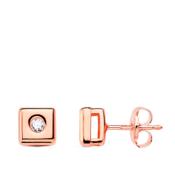 pendiente cuadrado oro rosa y diamante 5,5mm
