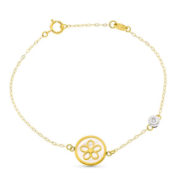 pulsera en oro con diamante y detalle flor en nácar