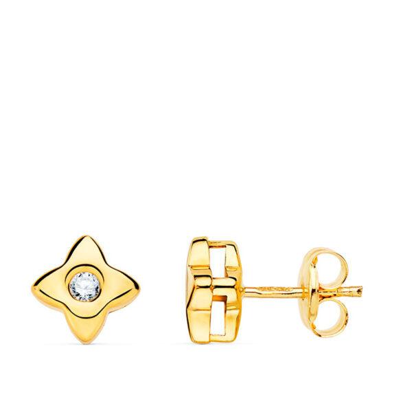 pendiente estrella oro y diamante 6mm