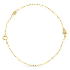 Pulsera de oro con detalle estrella y diamantes