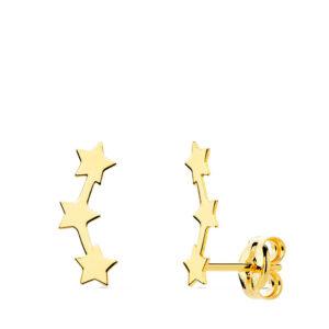 pendientes trepadores oro estrellas