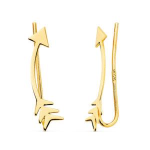 Pendientes trepadores oro flecha