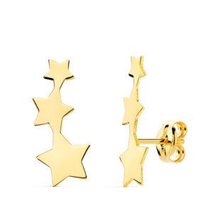 pendientes trepadores oro estrella