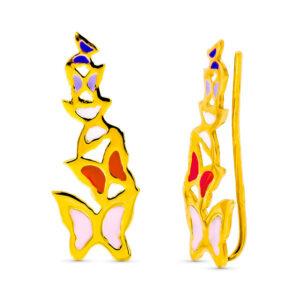 pendientes trepadores mariposas oro