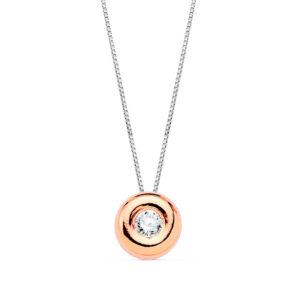 Gargantilla de diamante en oro rosa de 18k modelo redondo