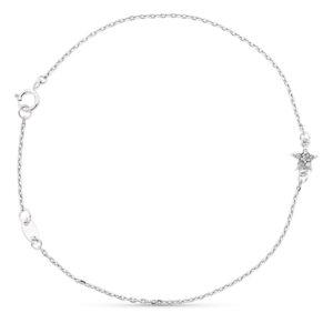 Pulsera de oro blanco con detalle estrella y diamantes