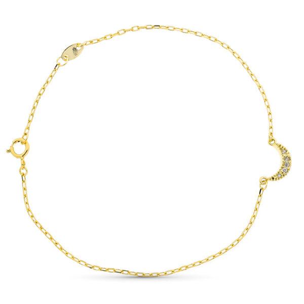 Pulsera de oro con detalle luna y diamantes