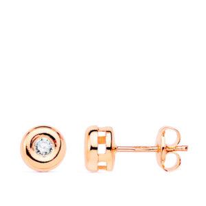 pendiente chaton oro rosa y diamante 6mm