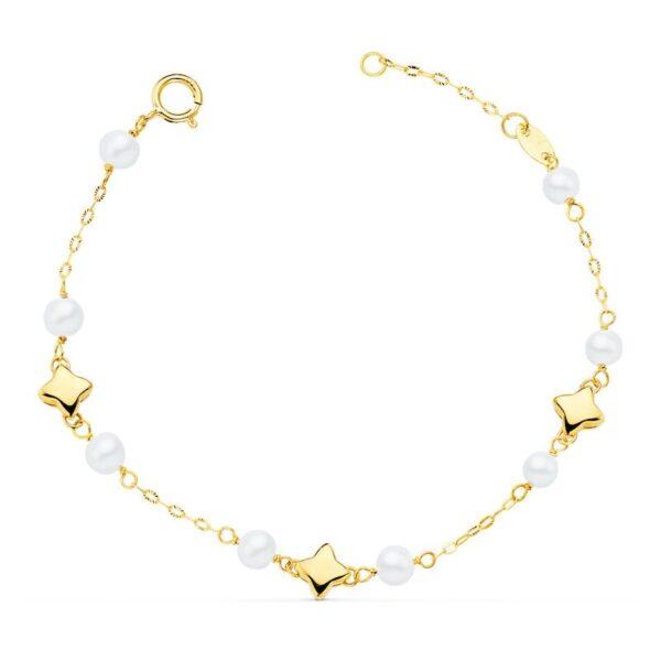 Pulsera de oro estrellitas y perlas