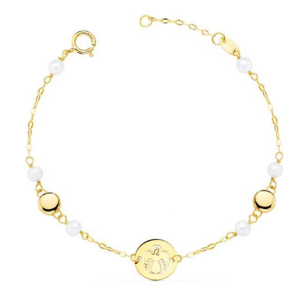 pulseras de oro y perlas primera comunión