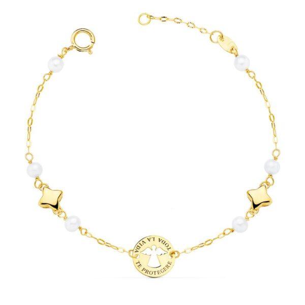 Pulsera de oro y perlas primera comunión