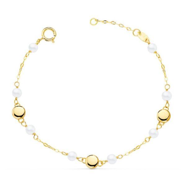 Pulsera oro y perlas primera comunión
