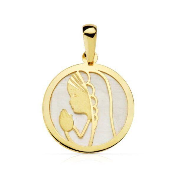 Medalla oro virgen niña primera comunión