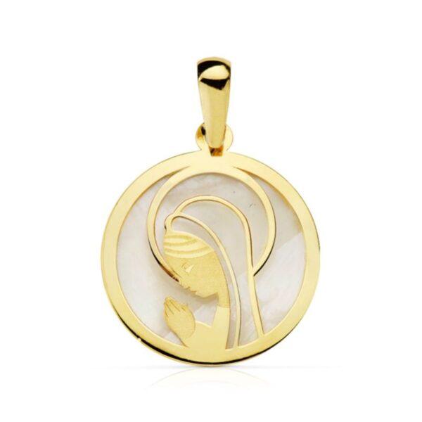 Medalla de oro y nácar virgen niña
