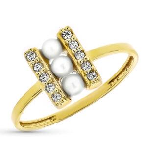 anillo oro primera comunión perlas y circonita