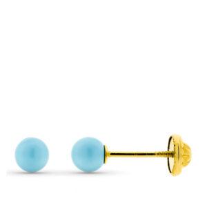 Pendientes de oro para bebe turquesa