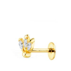 Piercing en oro flor