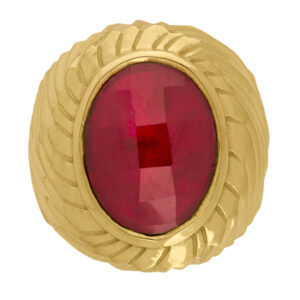 Sello de oro grande rubí ovalado