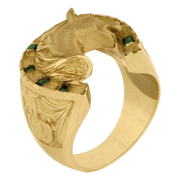 Sello de oro grande esmeralda