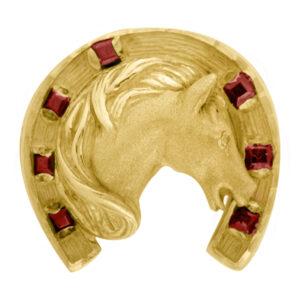 Sello de oro grande caballo rubí