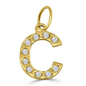 Colgante Inicial de oro circonita - C