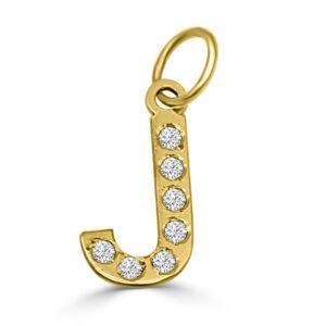 Colgante Inicial de oro circonita - J