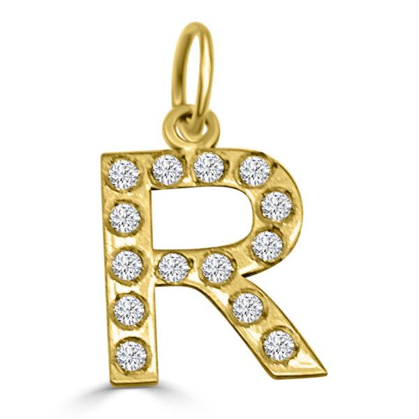 Colgante Inicial de oro circonita - R